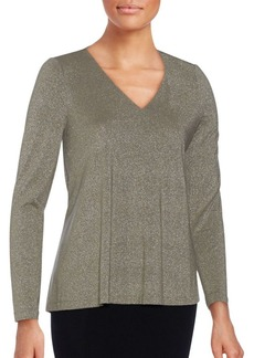 Lafayette 148 New York Speckled V-Neck Top