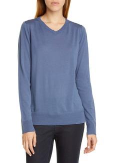 Lafayette 148 New York Split Cuff Wool Sweater