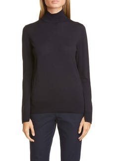 Lafayette 148 New York Split Detail Mock Neck Wool Sweater