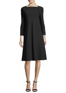 Lafayette 148 New York Square-Neck Punto Milano Flared Dress