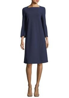 Lafayette 148 New York Square-Neck Punto Milano Flared Dress
