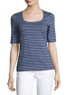 Lafayette 148 New York Square-Neck Striped Tee