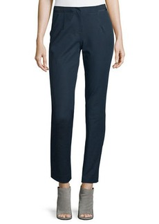 Lafayette 148 New York Stanton Ribbon-Trimmed Tapered Ankle Pants