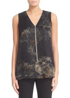 Lafayette 148 New York Star Spark Chain Neck Silk Blouse