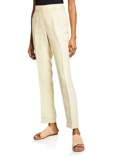 Lafayette 148 New York Straight-Leg Cuffed Linen Pants