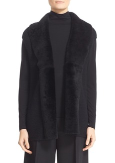 Lafayette 148 New York Stretch Cashmere Cap Sleeve Vest with Genuine Shearling Trim