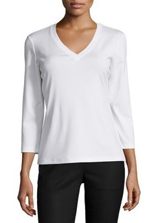 Lafayette 148 Stretch Cotton 3/4-Sleeve V-Neck Tee