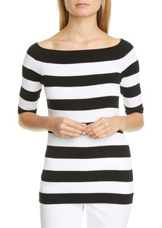 Lafayette 148 New York Stripe Boat Neck Sweater