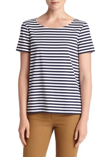 Lafayette 148 New York Stripe Cotton Bateau Neck Tee