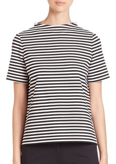 Lafayette 148 New York Stripe Mockneck Top