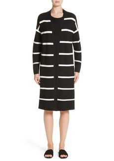 Lafayette 148 New York Stripe Open Front Long Cardigan