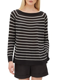 Lafayette 148 New York Stripe Raglan Sweater