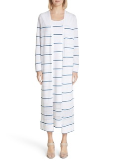 Lafayette 148 New York Stripe Sheer Hem Duster