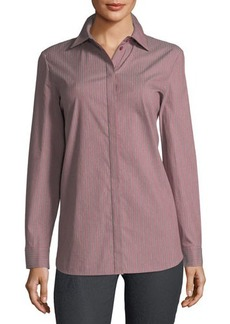 Lafayette 148 New York Striped Button-Down Blouse