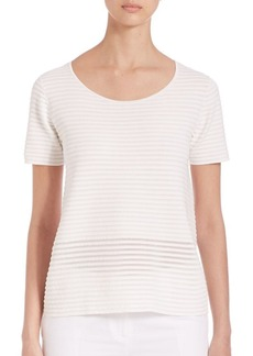 Lafayette 148 New York Striped Crepe Top