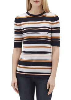 Lafayette 148 New York Striped Crewneck Short-Sleeve Rib-Knit Top