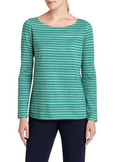 Lafayette 148 New York Striped Curved-Hem Tee