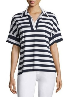 Lafayette 148 New York Striped Dolman-Sleeve Popover Top