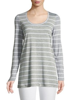 Lafayette 148 Striped Featherweight-Jersey Long-Sleeve T-Shirt