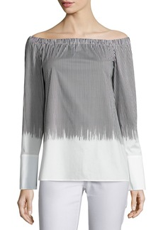 Lafayette 148 Striped Off-the-Shoulder Blouse