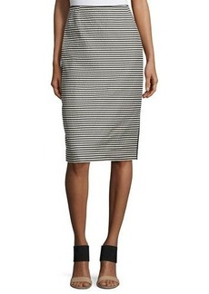 Lafayette 148 New York Striped Pencil Skirt W/Slit