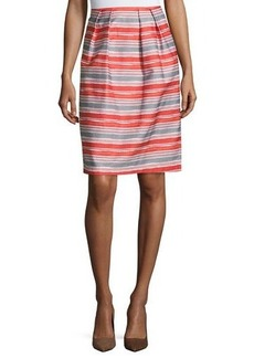 Lafayette 148 New York Striped Pleated-Front Skirt