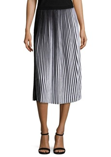 Lafayette 148 New York Striped Plissé Cotton Skirt