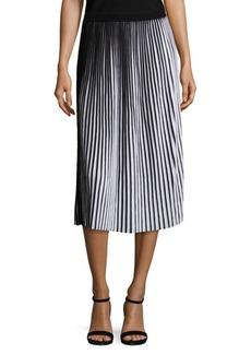 Lafayette 148 New York Striped Plissé Cotton Skirt