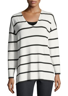 Lafayette 148 New York Striped V-Neck Matte Crepe Sweater