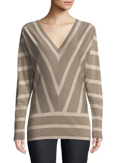 Lafayette 148 Striped Wool Dolman-Sleeve Sweater