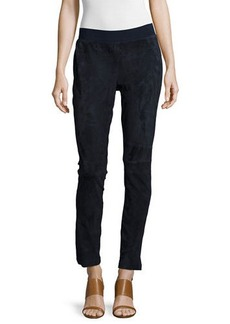 Lafayette 148 New York Suede-Front Knit-Back Moto Pants