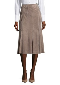 Lafayette 148 New York Suede Pleated Skirt
