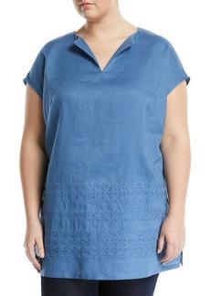Lafayette 148 New York Summer Short-Sleeve Embroidered Linen Blouse