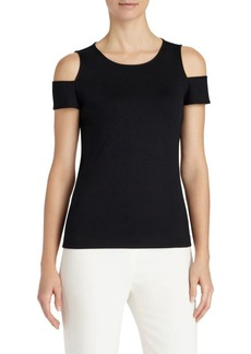 Lafayette 148 Swiss Ribbed Cold-Shoulder Top