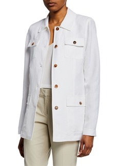 Lafayette 148 New York Tamaya Metropolis Linen Button-Front Jacket