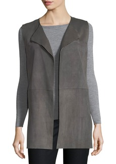 Lafayette 148 Tamma Suede Vest w/ Embroidered Cutout Detail