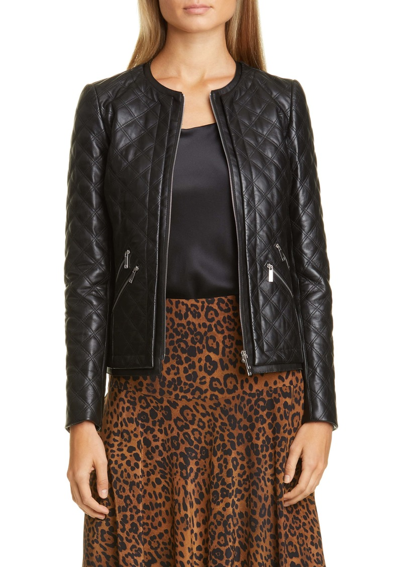Lafayette 148 New York Tanner Quilted Leather Jacket