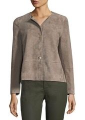 Lafayette 148 New York Tansy Snap-Front Suede Jacket