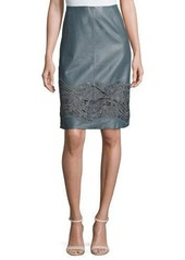 Lafayette 148 New York Tatiana Floral Lace Leather Skirt