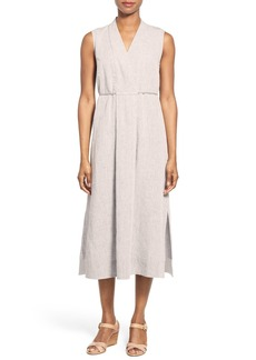Lafayette 148 New York 'Tawny' Sleeveless Tie Waist Linen Midi Dress