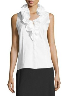 Lafayette 148 New York Tessa Ruffled-Neck Sleeveless Blouse