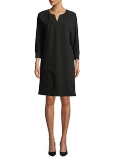 Lafayette 148 New York Thoren Shift Dress with Knit Trim