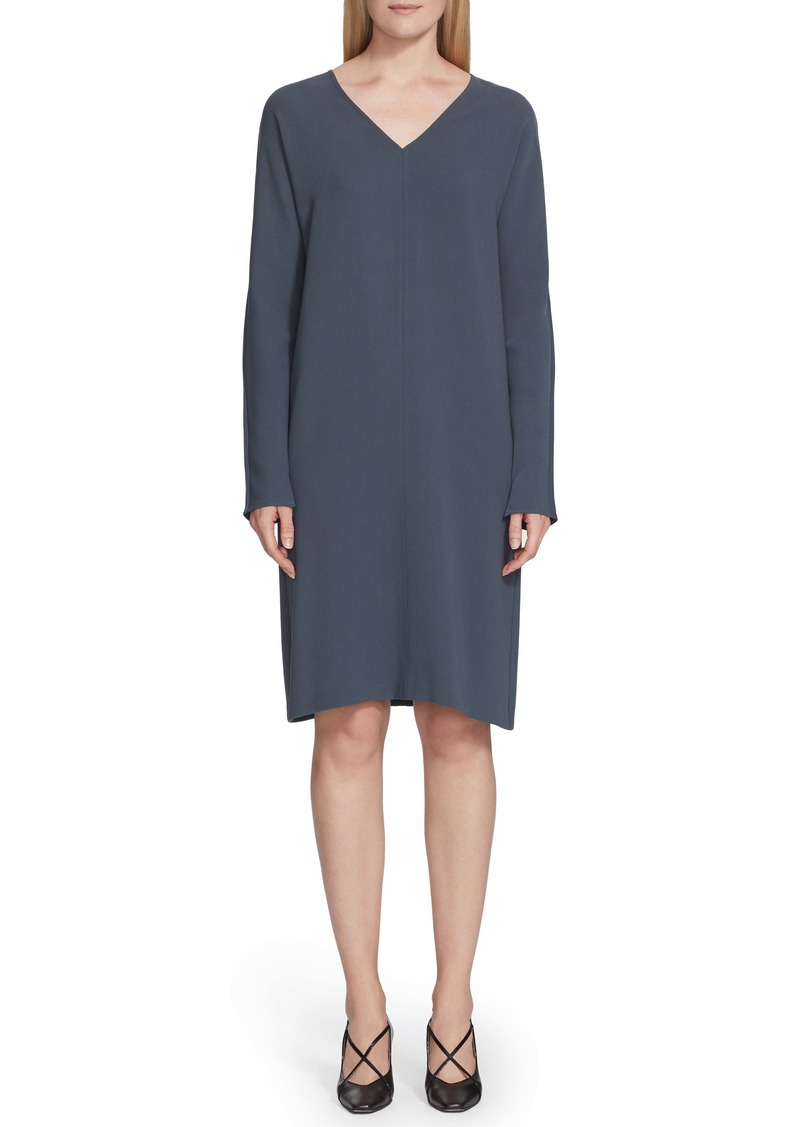 Lafayette 148 New York Thurman Finesse Crepe Long Sleeve Shift Dress