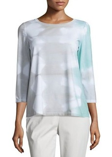 Lafayette 148 New York Tie-Dye 3/4-Sleeve Top