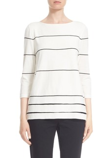 Lafayette 148 New York Tiered Hem Stripe Sweater (Regular & Petite)