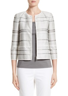 Lafayette 148 New York Tilda Stripe Cotton Blend Jacket