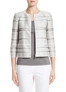 Lafayette 148 New York Tilda Stripe Cotton Blend Jacket