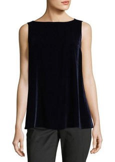 Lafayette 148 New York Toni Sleeveless Velvet Combo Blouse