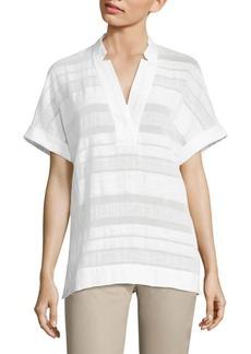 Lafayette 148 New York Travis Striped Cotton & Linen Blouse