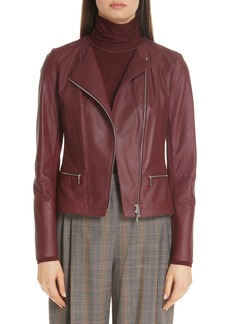 Lafayette 148 New York Trista Lambskin Leather Jacket